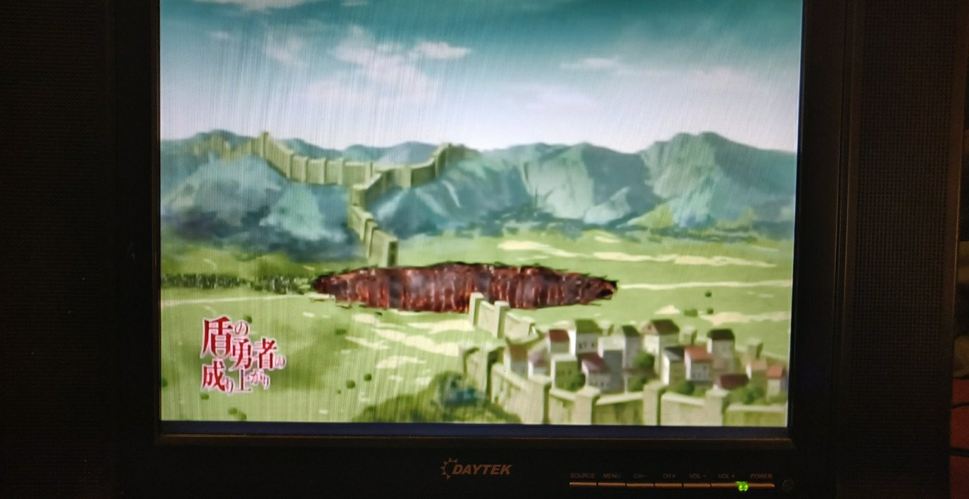 """A picture of the DayTek LCD with """"Rise of the Shield Hero"""" playing"""